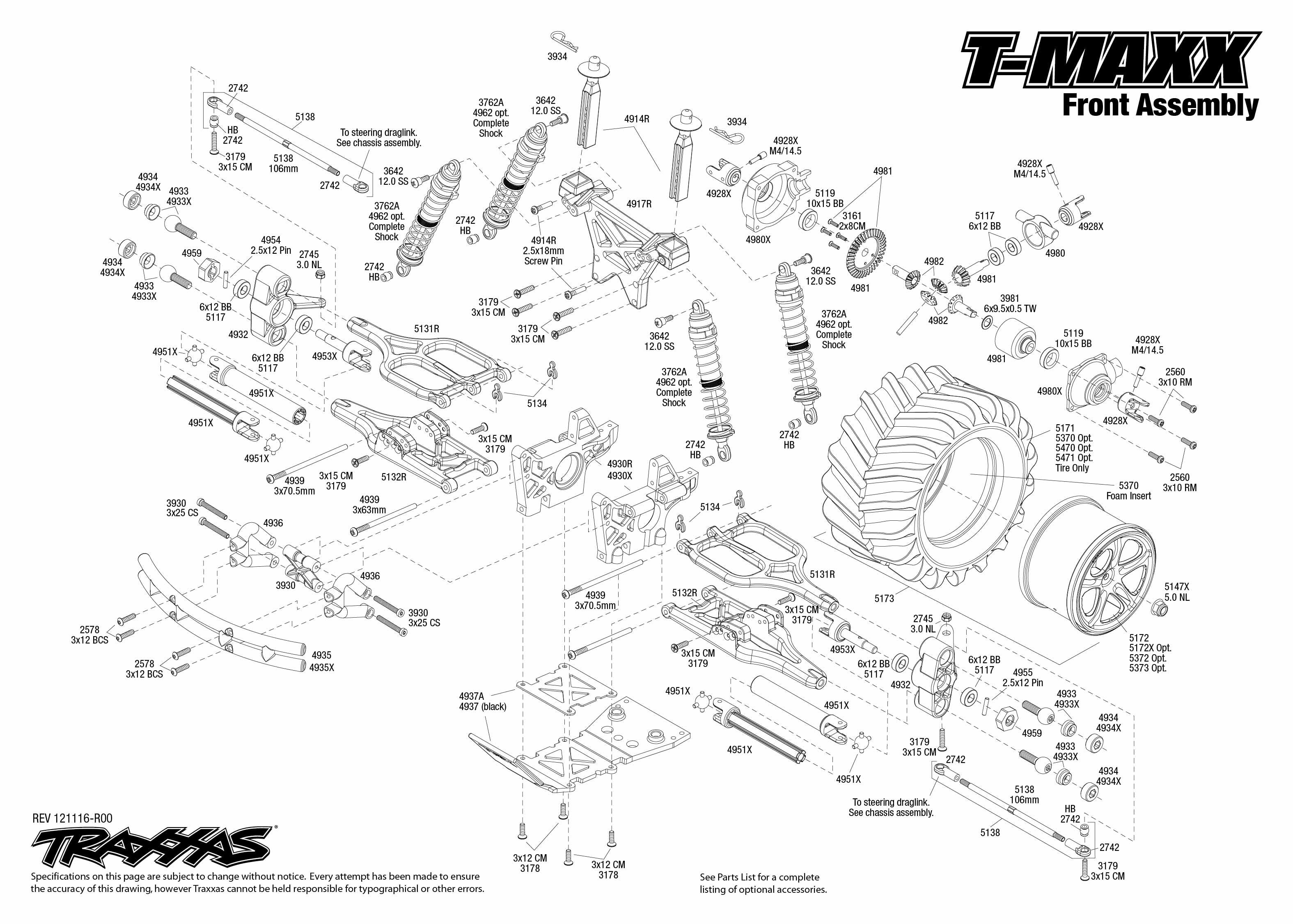 traxxas revo 3 parts diagram 120v motor wiring 49104 front assembly |